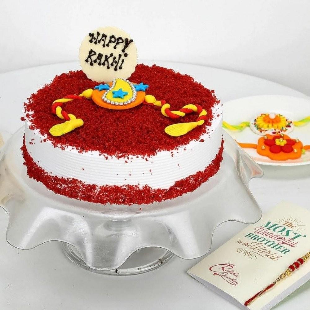 Red velvet Rakhi Cake
