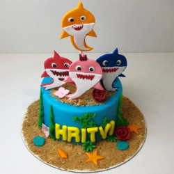 Blackforest Shark Theme Semi- fondant cake
